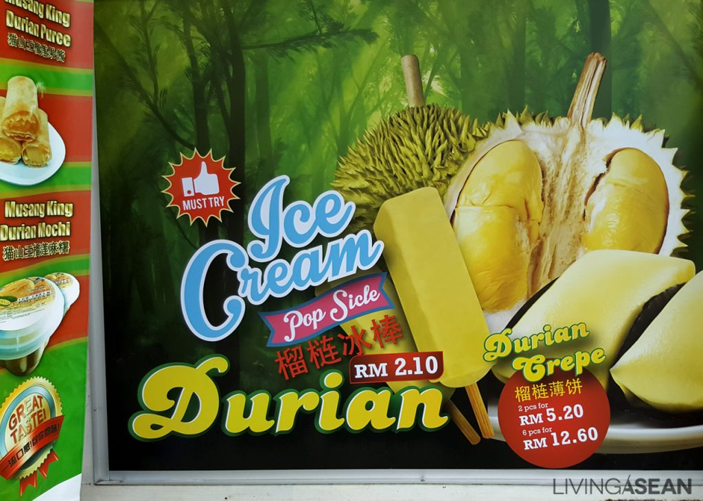 Malaysia seems to have it all from Musang King durian puree to Musang King durian mochi to durian flavored popsicle sticks.