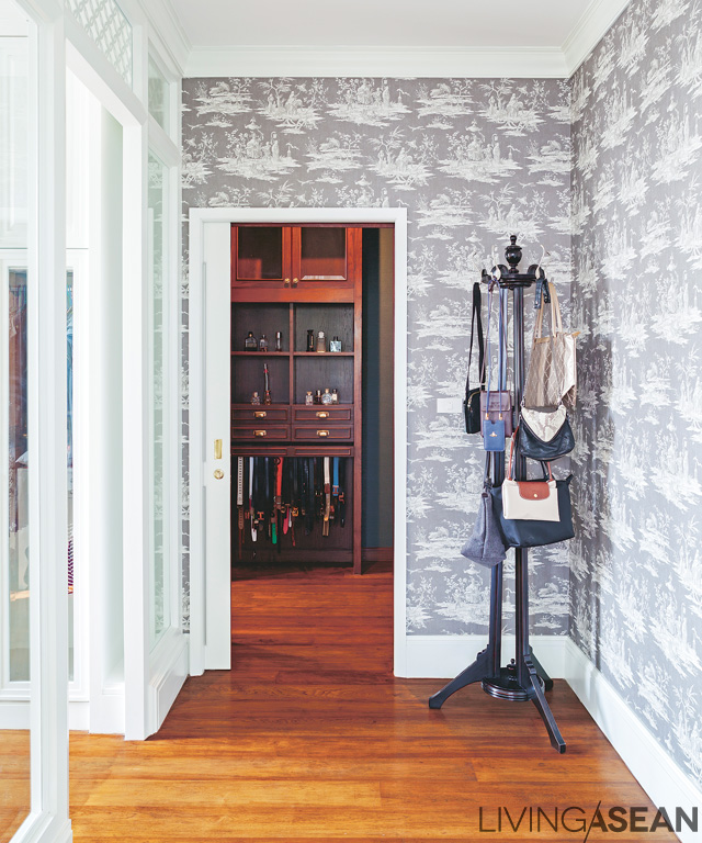 Contemporary wallpaper adds a special look to the entryway connecting the dressing area to the master bedroom.