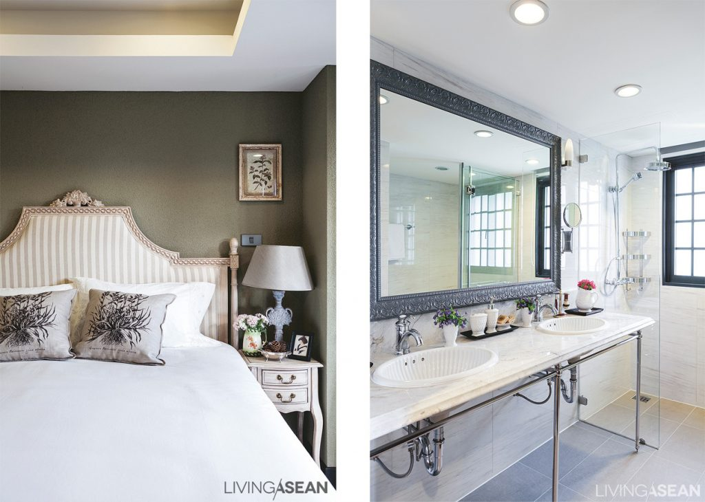 Bedroom décor on the lower floor features cream tones, with olive-green walls. /// The master bath has a double washbasin with a stylish marble countertop .