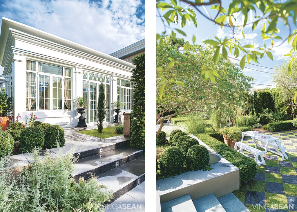 The small building is used for receptions and dining on important occasions. /// A cute spot for socializing, the area showcases alternating paved and grass blocks in the chessboard pattern often seen in English-style gardens.