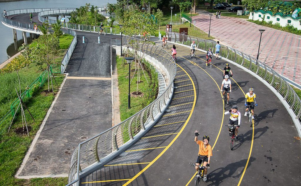 Circular roads vary from one area to another. This stretch of road is part of the Park Connector Network in Singapore.