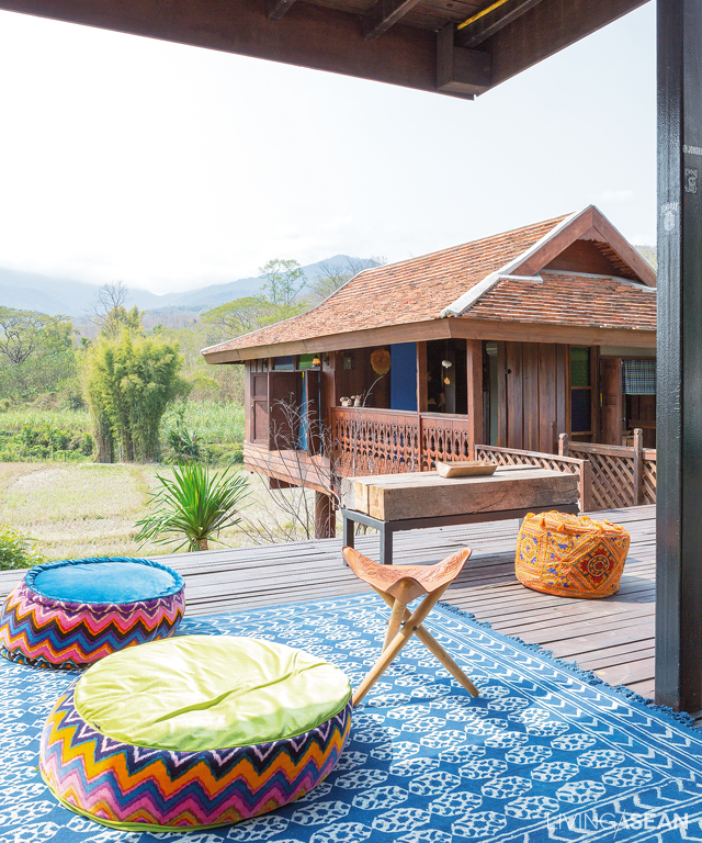 """An expanded terrace space connects to """"Reuan Long Khao,"""" a traditional farmhouse turned guest accommodations."""