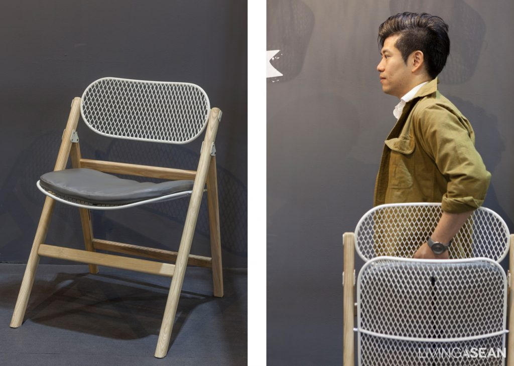 """Asked to design a chair for TCDC Commons, I come up with one that is foldable, easy to carry and stack up, but still comfortable enough to sit on,"" Jakkapun Charinratana"
