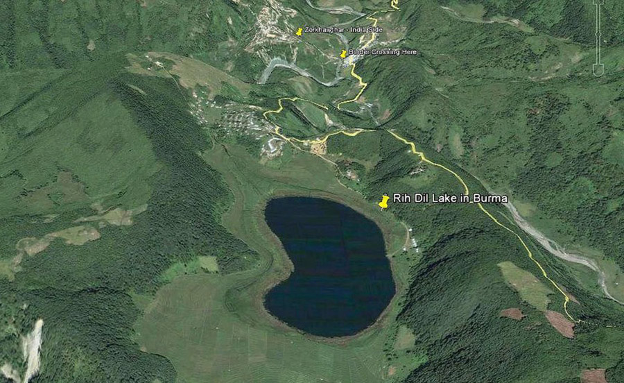 Heart shaped lake in india