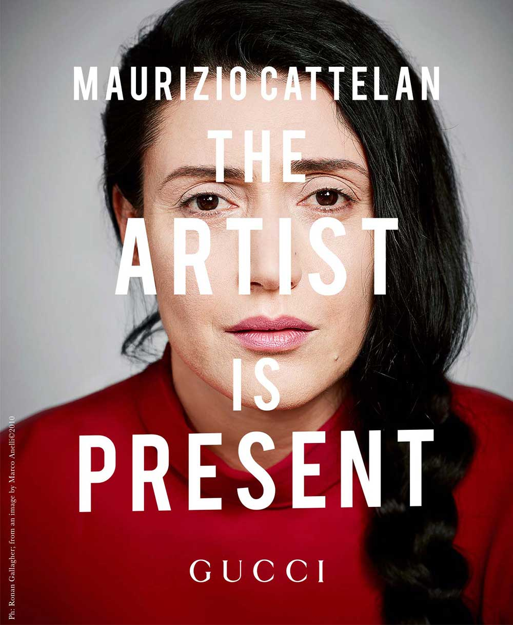 "A reproduction of Marina Abramovic's portrait as it appears in Gucci's version of ""The Artist Is Present"" I Photo courtesy of Ronan Gallagher, inspired by the original taken by Marco Anelli"