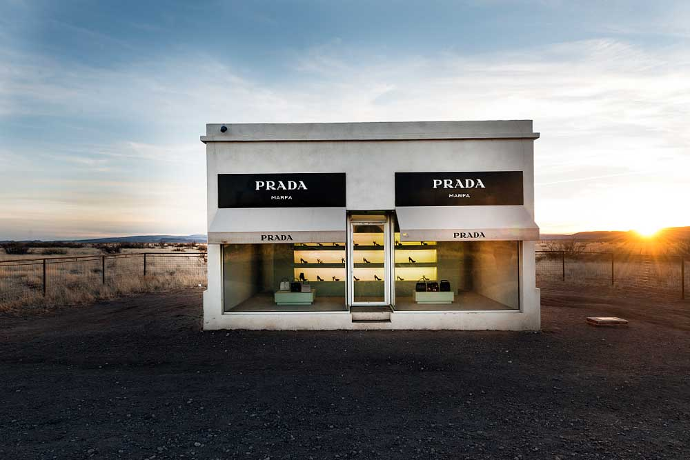 "A visual art piece titled ""Prada Marfa"" 
