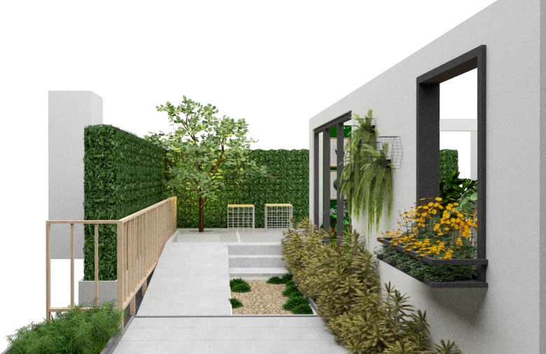 A rendering of urban pocket garden ideas at 2019 Baanlaesuan Fair Select
